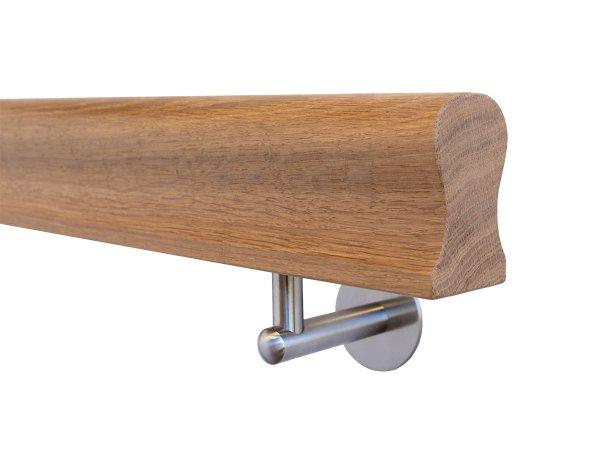 Holzhandlauf Eiche Omega Form in behandelt mit Halter