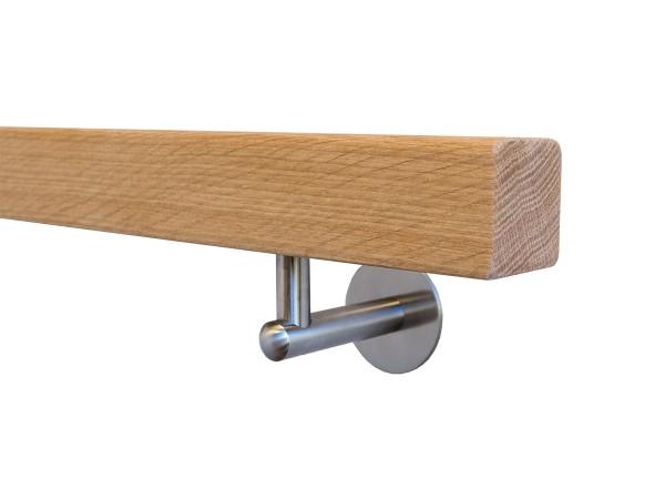 Holzhandlauf Eiche Quadratisch Set mit Halter