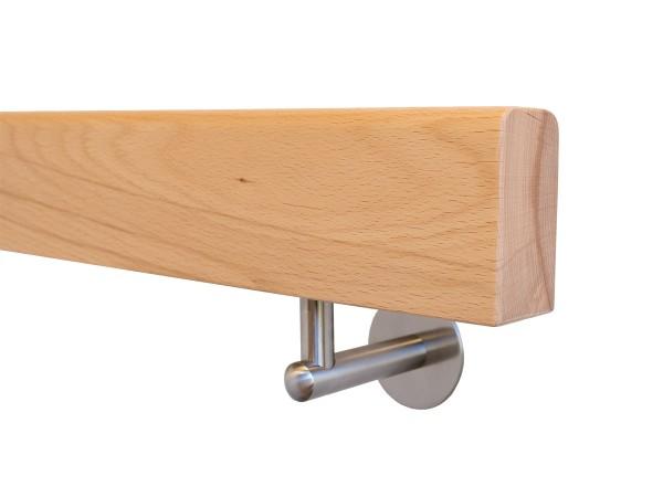 Holzhandlauf Buche Rechteckig mit Halter