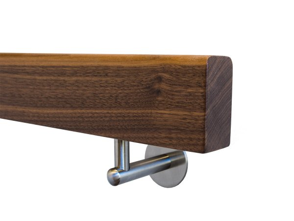 Holzhandlauf Nussbaum Rechteckig mit Halter