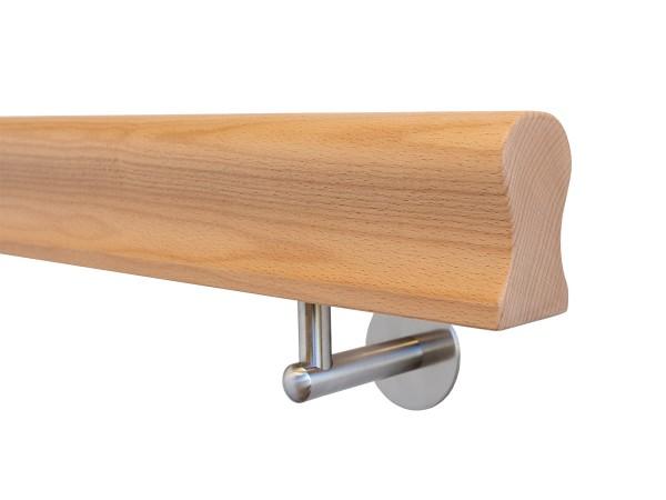 Holzhandlauf Buche Omega Form in behandelt mit Halter